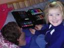 Nadïa trots op de kleuren potloden, feb. 2006